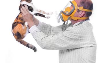 мужчина а противогазе держит кошку